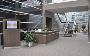 Main Lobby with a receptionist on duty during business hours to welcome your guests