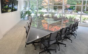 Main conference room features teleconferencing with audio/video capabilities and convenient refreshment center