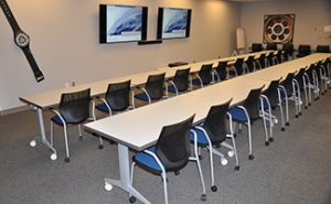 Training room with audio/video capabilities with easy access to the market-style break room and welcoming courtyard